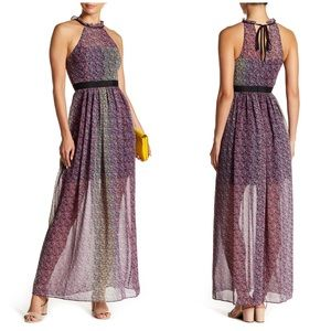 BCBGeneration Patterned Ruffle Floral Maxi Dress